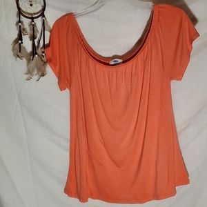 off the shoulder apricot colored top